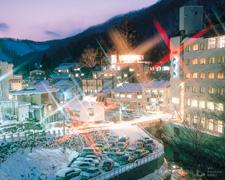 冬の鶯宿温泉夜景